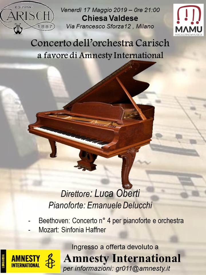 Concerto dell'Orchestra Carisch a favore di Amnesty International