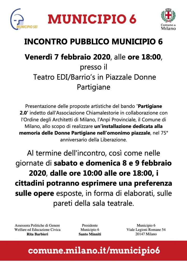 """Esposizione e votazione delle opere che hanno partecipato al concorso """"Partigiane 2.0"""" per la creazione di una installazione artistica in zona Barona a Milano"""